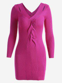 Twisted V Neck Knitted Dress - Sangria