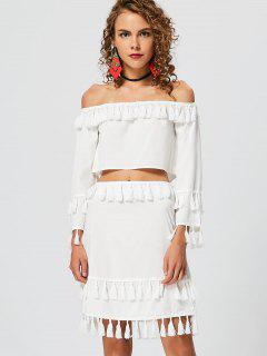 Tassel Off Shoulder Top With Skirt - White S