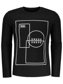Camiseta Geométrica Del Modelo De La Manga Larga - Negro 2xl