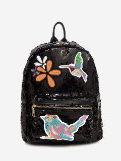 Embroidery Sequins Zippers Backpack - Black