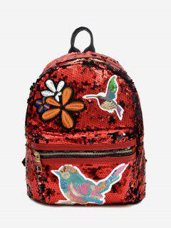 Embroidery Sequins Zippers Backpack - Red