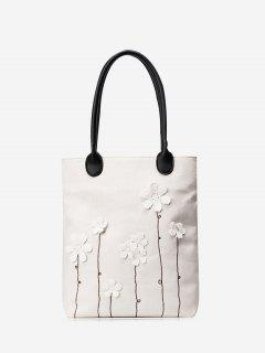 Canvas Flower Embellishment Shoulder Bag - White