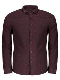 Button Down Casual Shirt - Wine Red 3xl