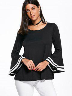 Flounce Stripes Flare Sleeve Scoop Neck Top - Black 2xl