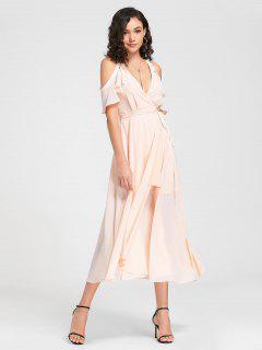 Cold Shoulder Plunging Neck Wrap Dress - Light Pink L