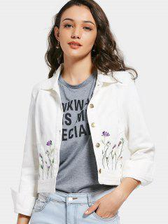 Button Up Floral Embroidered Jean Jacket - White L