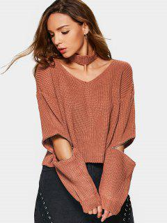 Zipper Sleeve Chunky Choker Sweater - Spice