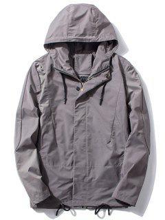 Hooded Thicken Drawstring Zip Up Jacket - Gray 3xl