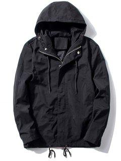 Hooded Thicken Drawstring Zip Up Jacket - Black Xl