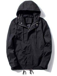 Hooded Thicken Drawstring Zip Up Jacket - Black M