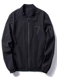 Stand Collar Triangle Embroidered Bomber Jacket - Black L