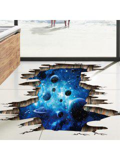 Planets 3D Broken Floor Sticker For Living Room - Blue 60*90cm