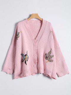 Button Up Embroidered Ripped Cardigan - Pink