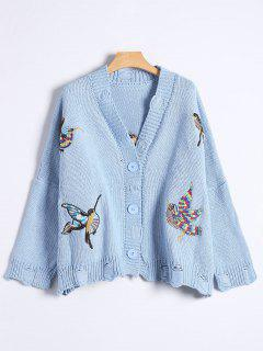 Button Up Embroidered Ripped Cardigan - Blue