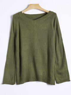 Raglan Sleeve V Neck Knit Sweater - Green