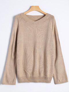 Raglan Sleeve V Neck Knit Sweater - Khaki