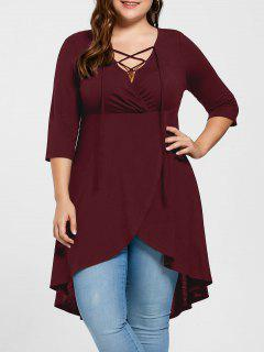 Plus Size Lace Up High Low Hem Top - Wine Red 2xl