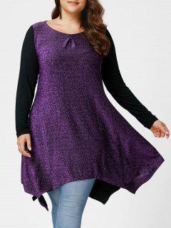 Plus Size Sequined Handkerchief Hem Top - Purple 5xl