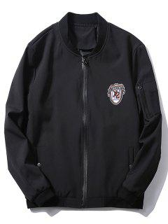 Stand Collar Badge Zip Pocket Bomber Jacket - Black Xl