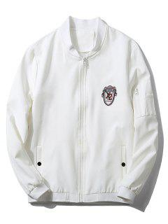 Stand Collar Badge Zip Pocket Bomber Jacket - White 2xl