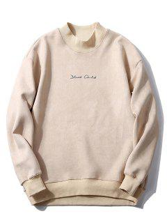Crew Neck Graphic Print Suede Sweatshirt - Off-white L