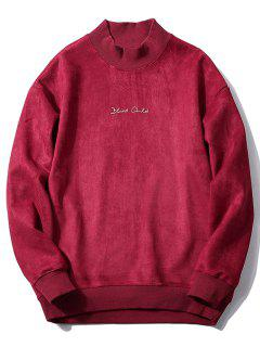 Crew Neck Graphic Print Suede Sweatshirt - Wine Red L