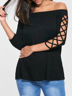 Ausschnitt Aus Dem Schulter T-Shirt - Schwarz L