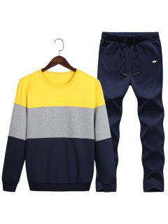 Crew Neck Color Block Fleece Sweatshirt Twinset - Yellow 2xl
