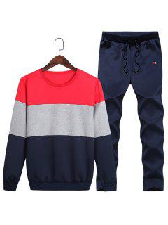 Crew Neck Color Block Fleece Sweatshirt Twinset - Red 4xl