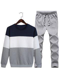 Crew Neck Color Block Fleece Sweatshirt Twinset - Deep Blue 3xl