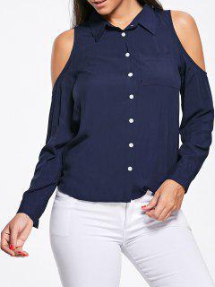 High Low Cold Shoulder Pocket Shirt - Deep Blue L