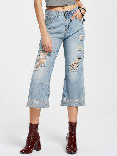 Embroidered Destroyed Wide Leg Jeans - Denim Blue S