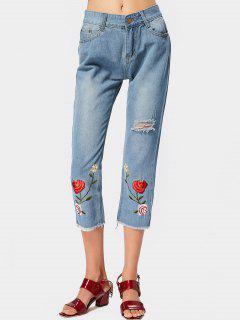 Pantalones Vaqueros Rasgados Bordados Florales Del Dobladillo - Azul Claro Xl