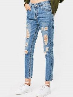 High Waisted Destroyed Ninth Pencil Jeans - Denim Blue 27
