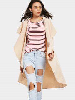 Asymmetrical Open Front Trench Coat - Apricot S