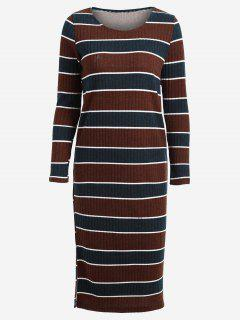 Long Sleeve Stripes Sweater Midi Dress - Stripe L