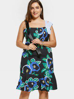 Übergröße Kleid Mit Rüschen , Blumendruck Und Riemen - Mehrfarbig 5xl