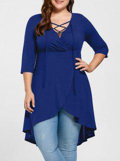 Plus Size Lace Up High Low Hem Top - Blue Xl