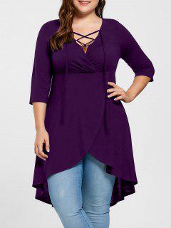 Plus Size Lace Up High Low Hem Top - Purple Xl