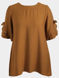 Übergröße Tunika Kleid Mit Rüschen - Khaki Xl