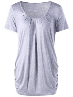 Scoop Neck Ruched Top - Gris Clair M