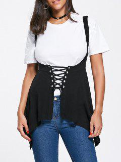Asymmetrical Lace Up Corset Top - Black L