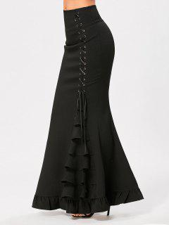 Criss Cross Side Ruffles Maxi Mermaid Skirt - Black S