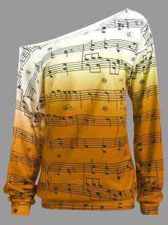 Sweat-shirt Encolure Cloutée Imprimé Notes Muscales à Manches Longues - Orange 2xl