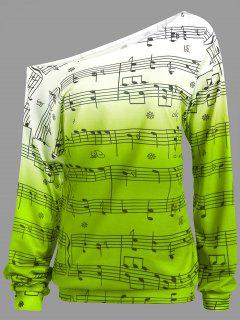 Musical Notes Print Long Sleeve Sweatshirt - Light Green 2xl