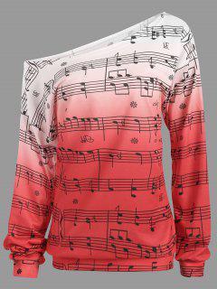 Camiseta De Manga Larga De Impresión De Notas Musicales - Rosa S