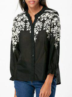 Button Up Embroidered Shirt - Black L