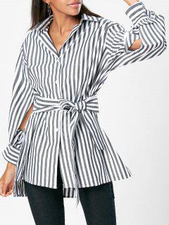 High Low Slit Striped Shirt With Belt - Stripe L