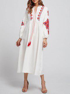 Robe Droite Brodée à Manches Bouffantes - Blanc