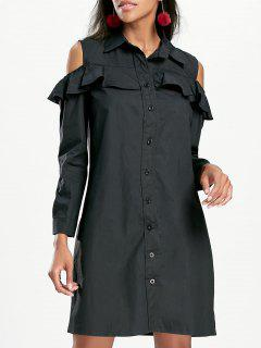 Cold Shoulder Ruffled Mini Shirt Dress - Black M